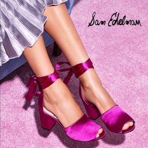 Sam Edelman Odele Hot Pink Satin Heels 💕